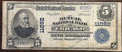 1902 $5 The Mutual National Bank Of Chicago National Banknote