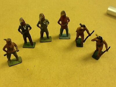 ^ Vintage 1950's Lot of 6 Indians Native Americans Figures Toys made in England