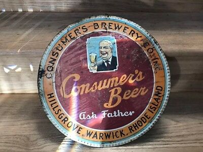 Antique Ask Father Consumer Beer Metal Sign