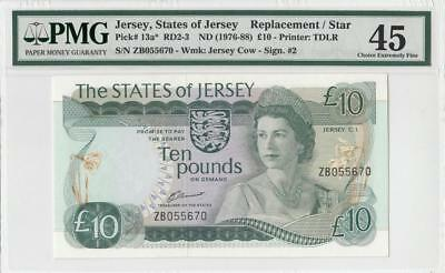 "1976 STATES OF JERSEY QEII 10 POUNDS **Replacement / Star** ""Z"" (( PMG 45 ))"