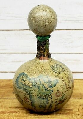 Vintage Leather Wrapped Decanter Old World Map Globe Italian Green Glass 10.5""