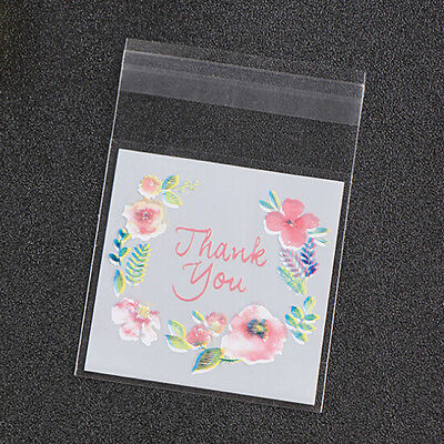 100Pcs Plastic Cookie Bags OPP Candy Baking Party Favor Gift Packaging Flower G