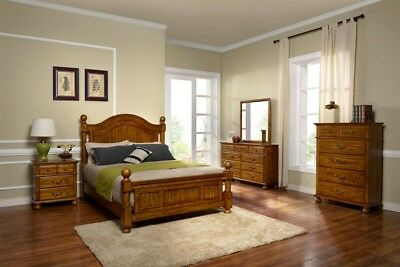 4PC WEST. KING Set Distressed Antique Pine Finish Traditional ...