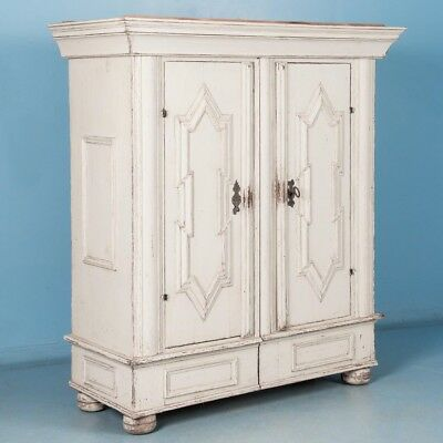 Antique 18th Century, Danish Baroque Armoire with White Paint
