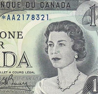 "1973 Bank Of Canada Qeii $1 **star Note** ""aa"" (( Gem Unc ))"