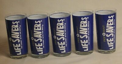 Pep O Mint Life Savers The Candy With The Hole 5pc Blue White Vintage Glass Cups