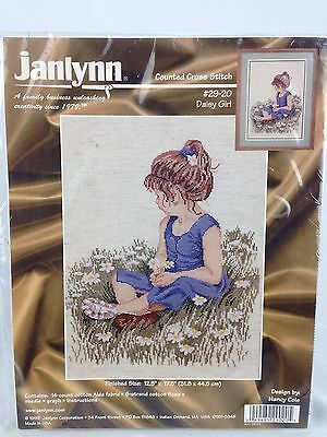 "Janlynn Counted Cross Stitch Kit Daisy Girl Sitting in Field NEW 12.5"" x 17.5"""