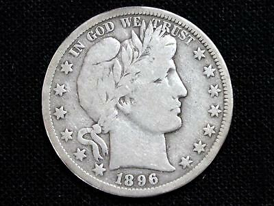 "1896S ""key Date"" Barber Half Dollar Estate Coin - Fine To Vf"
