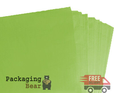 100 SHEETS OF LIME GREEN ACID FREE TISSUE PAPER 375mm x 500mm, 18gsm *FREE P&P*