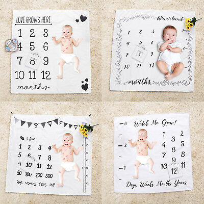 Newborn Baby Kid Girls Boy Infants Milestone Blanket Mat Photography Photo Props