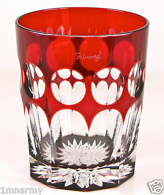 Faberge Rocks Dof Whiskey Glass, Ruby Red Cased Crystal, Signed