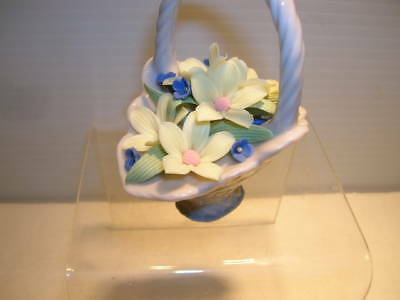 Lladro Basket With Handle Filled With Flowers Figurine
