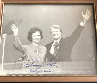 President JIMMY CARTER & Wife ROSALYNN Signed Autographed Photo In Frame! OLD!