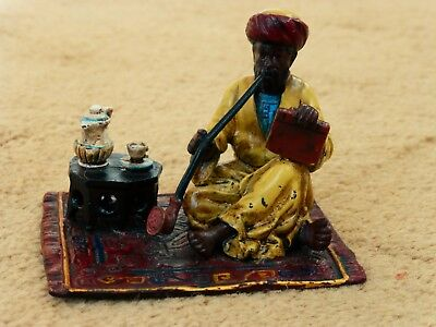 ANTIQUE FRANZ BERGMAN COLD PAINTED BRONZE ARAB WITH PIPE CARPET BASE LATE 19th C