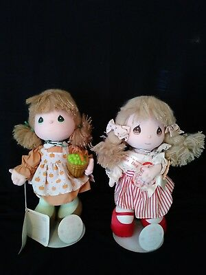 """Two Dolls 1988 Fall Precious Moments of the Month """"November"""" & 1991 Valentine'"""