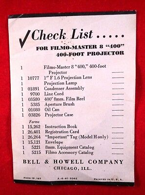 """Bell and Howell Filmo-Master 8 """"400"""" 400 foot Projector Check List"""