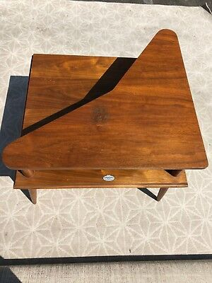 Mid Century Modern Two Tier Corner End Side Table Vintage