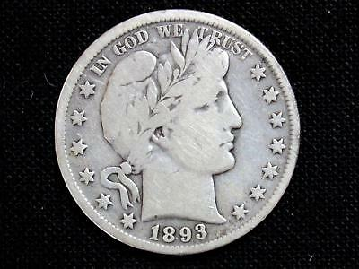 "1893 Barber Half Dollar Estate Coin - Very Good To Fine With Partial ""liberty"""