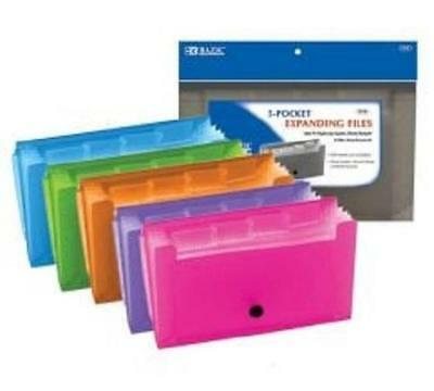 3 Pk BAZIC Assorted 5-Pocket Expanding Files (Coupon/Personal Check Size)