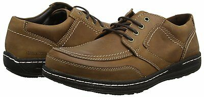 UK 10 Hush Puppies Volley Victory Leather Derbys Brown Dark Tan Mens Shoes