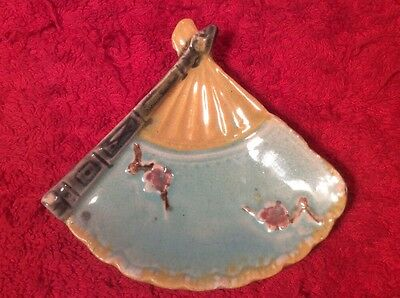 Antique Butter Pat Majolica Blue & Yellow Fan & Flowers  c.1800's, em64