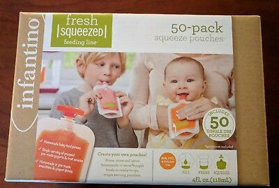 Infantino Squeeze Pouches, 50 Ct. Pouches and Caps New 4 oz #208-102 BPA free