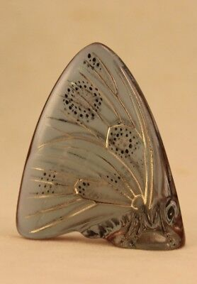 """Signed Lalique France 2¼"""" Pale Blue Green Glass Butterfly"""