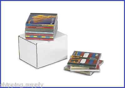 50 Pack - White Corrugated CD Mailer Shipping Storage Boxes - 4 Sizes Available