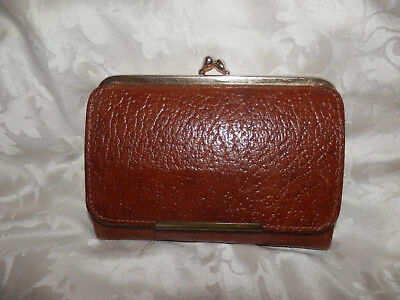 Vintage Brown Grained Leather Purse!made In England.vgc.