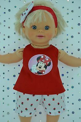 "Play n Wear Doll Clothes 13""Little Mommy/Baby Born STRAWBERRY PANTS~TOP~HEADBAND"