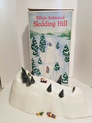 Department 56 Village Animated Sledding Hill Working Condition with box/sledders