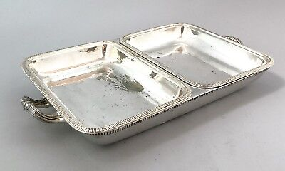 Antique silver plate 2-section entrée breakfast bacon eggs serving dish ornate