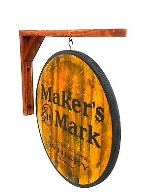 Makers Mark Whisky Sign, 2 sided wall hanging sign, 14 inch diameter, w/ bracket