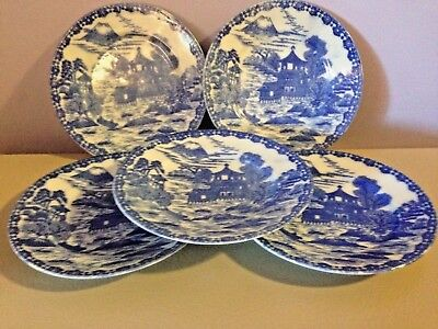 Flowing Blue Willow Plates