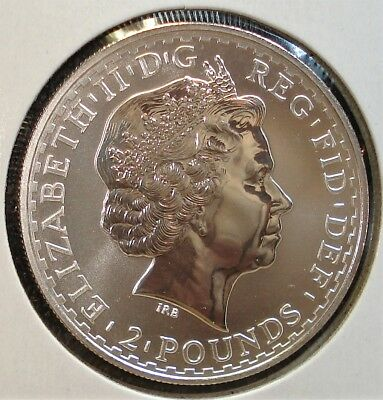 """2002 Britannia £2 1 Ounce Silver Proof Coin in Large 2.5"""" by 2.5"""" Holder"""
