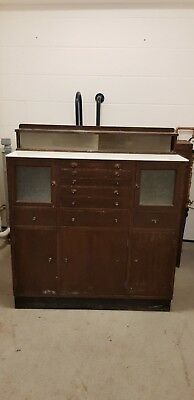 Vintage Glass and Wood Dentist Cabinet - London E10