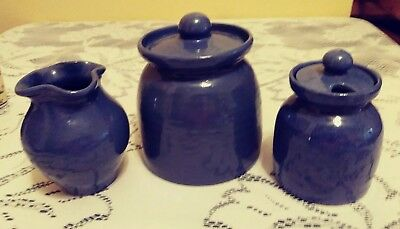 """3 Bybee Pottery 5.25""""  CANISTER W LID 5""""vase 4.5"""" condiment jar. with lid BB"""