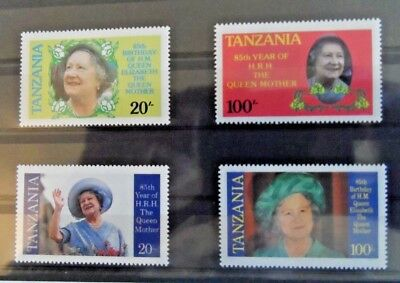 Tanzania 1985 Queen Mother's 85th Birthday  MNH  mint never hinged  4 stamps
