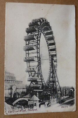 Vintage Postcard - The Great Wheel, Blackpool- Posted 1904