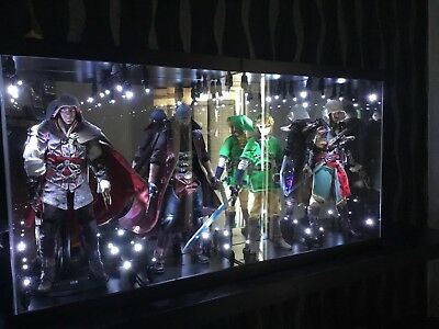 "Acrylic Light Up Display Case Fits Four 12"" 1/6 Figures x5 Black Stands Hot Toys"