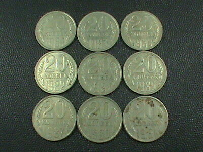 SOVIET UNION  LOT , 20 Kopek 1961 1980  1981  1982  1983  1985  1987 1988 & 1989