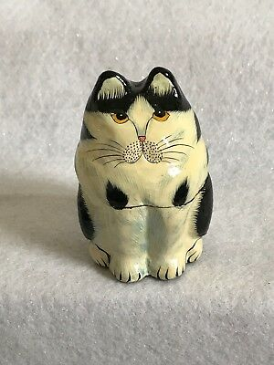 Kashmir Style Trinket Box Cat Gold Black Eyes Paper Mâché Lacquer Made In India