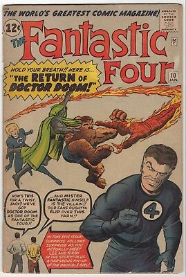 FANTASTIC FOUR #10 1963 Dr Doom 1st Marvel Universe app Stan Lee Jack Kirby VG