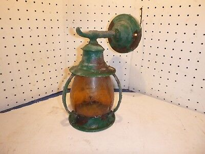 Copper Lantern amber glass Wall Sconce  Arts & Crafts Mission  Parts Restoration