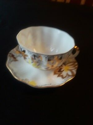 China Cup and Saucer Multicolored Gold geometry Pattern with Black bird