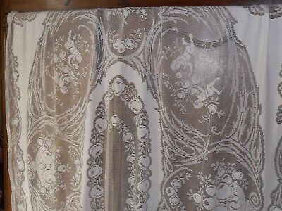 Antique French lace bed cover,bedspread.Cherubs,roses.C1930.