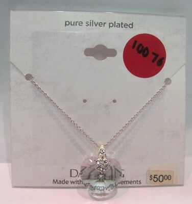 10076 OLD PAWN Sterling Silver Crystal Heart Charm Necklace