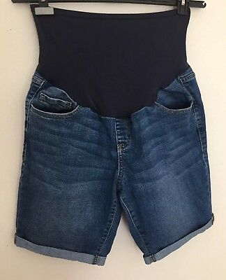 Old Navy Maternity Jean Shorts Size 12 Regular Denim Bermuda Walking Full Panel