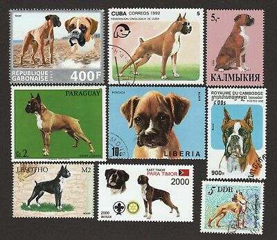 BOXER ** Int'l Dog Postage Stamp Collection ** Great Gift Idea **