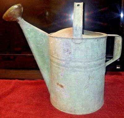Vintage #12 Galvanized Metal Watering Can w/ Copper Brass Rose spout Beautiful